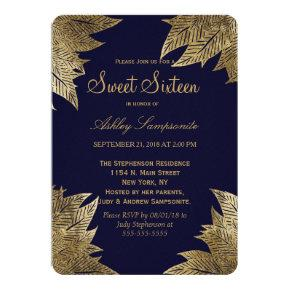 Gold Leaves on Navy Blue Sweet 16