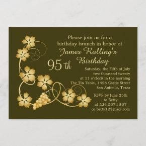Gold leaves on vine, your background 95th Birthday Invitation