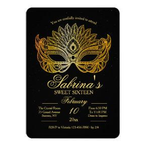 Gold Mask Masquerade Sweet Sixteen Invitation
