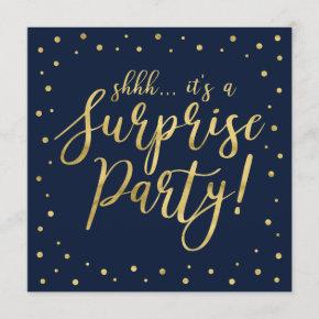 Gold & Navy | 50th Surprise Birthday Party Invitation