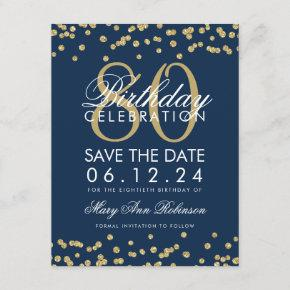 Gold Navy Blue 80th Birthday Save Date Confetti Save The Date