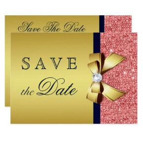 Gold Navy Coral Sequins Diamonds Bow Save The Date Card