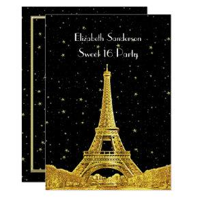 Gold Paris France Skyline #2 Bk Starry Sweet 16 V Invitations