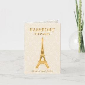 Gold Passport Birthday Invitation