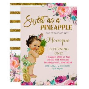 Gold Pineapple FIRST Birthday Invitation
