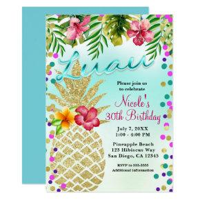 Gold Pineapple & Tropical Leaves Luau Party Card