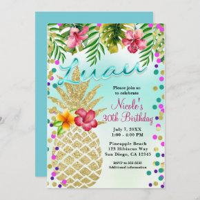 Gold Pineapple & Tropical Leaves Luau Party Invitation