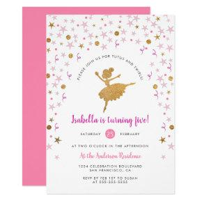 Gold & Pink Confetti Ballerina Birthday Invitations