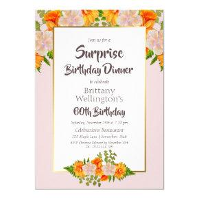 Gold Pink Floral Surprise 60th Birthday Dinner Invitation