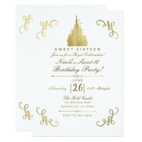 Gold Princess Flag Castle Storybook Sweet 16 Party Invitation