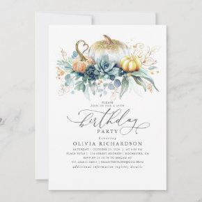 Gold Pumpkins Succulents Greenery Fall Birthday Invitation
