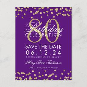 Gold Purple 80th Birthday Save Date Confetti Save The Date