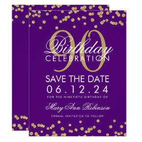 Gold Purple 90th Birthday Save Date Confetti Invitation