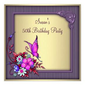 Gold Purple Butterfly Womans 50th Birthday Party Invitations
