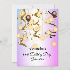 Gold Purple Pink Lights Birthday Party Invite