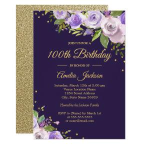 Gold Purple Sparkle Floral 100th Birthday Invite