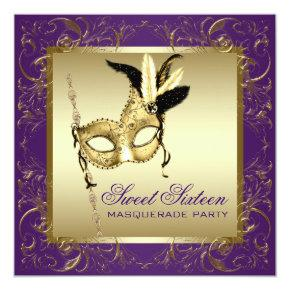 Gold Purple Sweet Sixteen Masquerade Party Invitations
