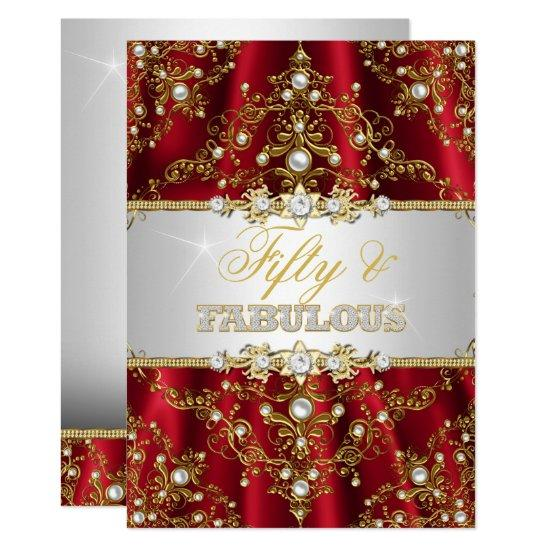 Gold Red Pearl Damask Fifty and Fabulous Invite Candied Clouds