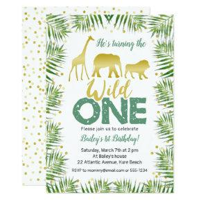 Gold Safari Animals WILD ONE 1st Birthday Invitation