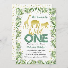Gold Safari Animals WILD ONE 1st Birthday Invitation