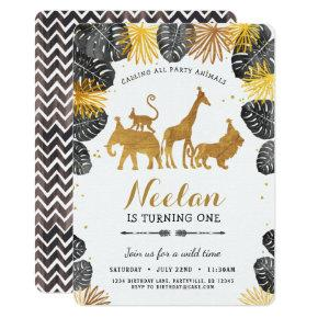 Gold Safari Birthday Invitations