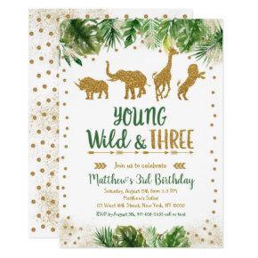 Gold Safari Young Wild And Three Birthday Invitation