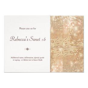 Gold Sequins Sweet 16 Blush Pink Invitation