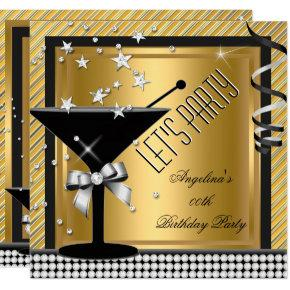 Gold Silver Black Martini Birthday Party Invitations