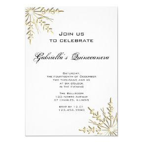 Gold Snowflake Winter Quinceanera Invitations
