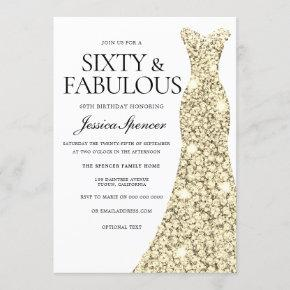 Gold Sparkle Dress 60 & Fabulous 60th Birthday Invitation