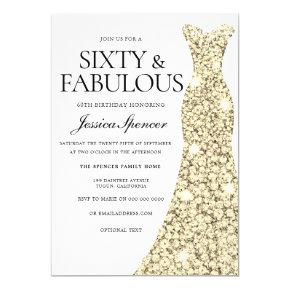 Gold Sparkle Dress 60 & Fabulous 60th Birthday Invitation