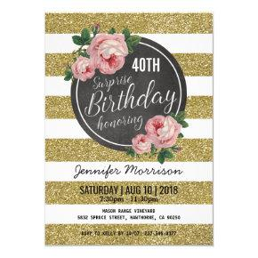 Gold Sparkle Floral Pink Surprise Birthday Party Invitation