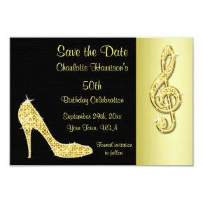Gold Stiletto & Treble Cleft 50th Save The Date Card