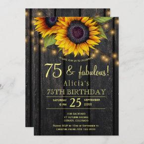 Gold sunflowers country barnwood 75 fabulous years invitation