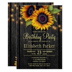 Gold sunflowers rustic barn wood birthday party invitation