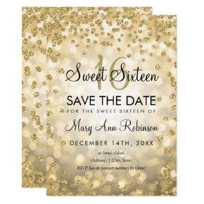 Gold Sweet 16 Save The Date Glitter Lights Invitation
