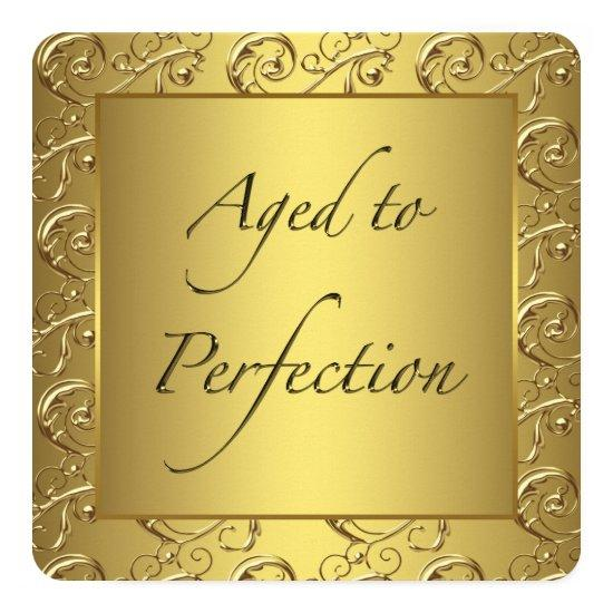 gold swirl aged to perfection birthday party invitations candied