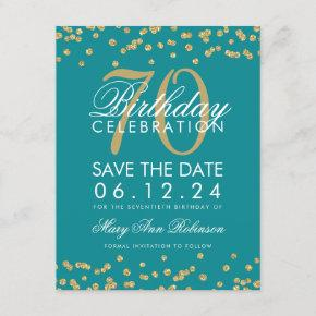 Gold Teal 70th Birthday Save Date Confetti Save The Date