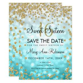 Gold Teal Ombre Sweet 16 Save The Date Glitter Invitation