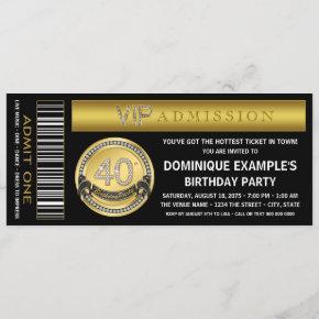 Gold Ticket 40th Birthday Party Invitation