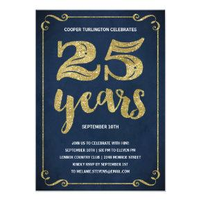 Gold Typography | Faux Foil 25th Birthday Party Invitations