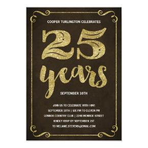 Gold Typography | Faux Foil 25th Birthday Party Invitation