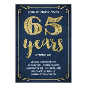 Gold Typography | Faux Foil 65th Birthday Party Invitations