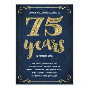 Gold Typography | Faux Foil 75th Birthday Party Invitation