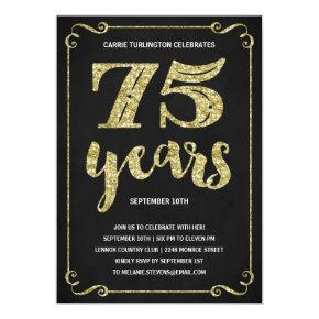Gold Typography | Faux Foil 75th Birthday Party Invitations