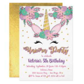 Gold Unicorn Floral Birthday Party Invitations