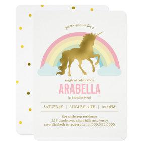 Gold Unicorn Girls Birthday Party Invitation