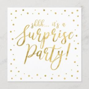 Gold & White | 50th Surprise Birthday Party Invitation