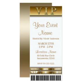 Gold & White Elegant Dinner Party VIP Ticket Invitation