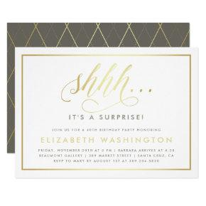 Gold & White Surprise Birthday Party Invitations
